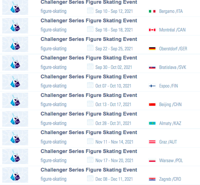花样滑冰挑战者系列赛赛程公布 10月冬奥测试赛