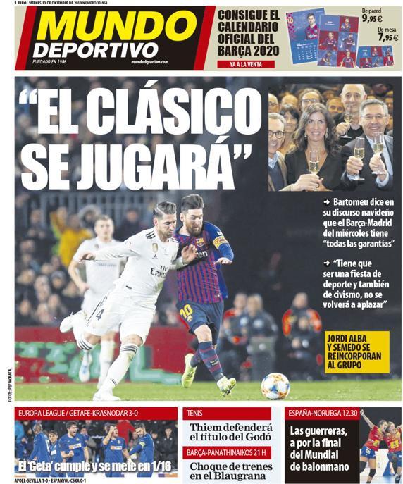《世界体育报》封面,国家德比如期举行