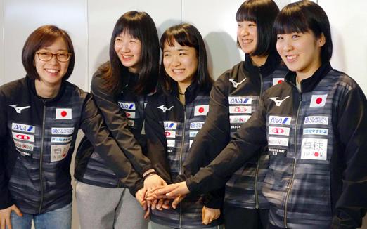 从左至右:石川佳纯、早田希娜、伊藤美诚、长崎美柚、平野美宇
