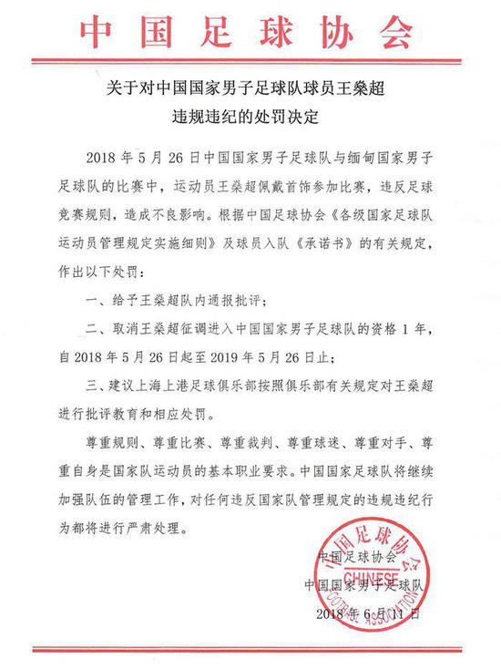 足协官方:取消征召王燊超一年 戴饰品造成不良影响
