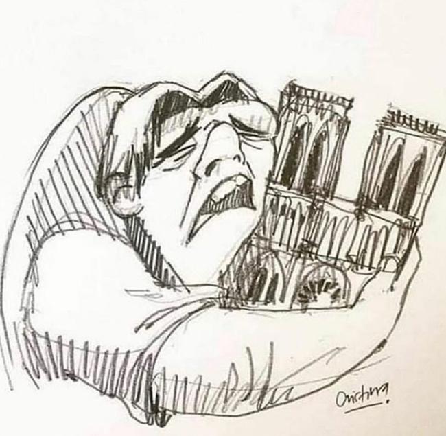 内马尔为巴黎圣母院祈祷