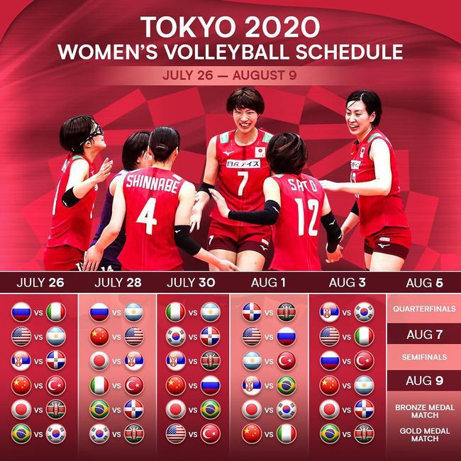 东京奥运会女排赛程