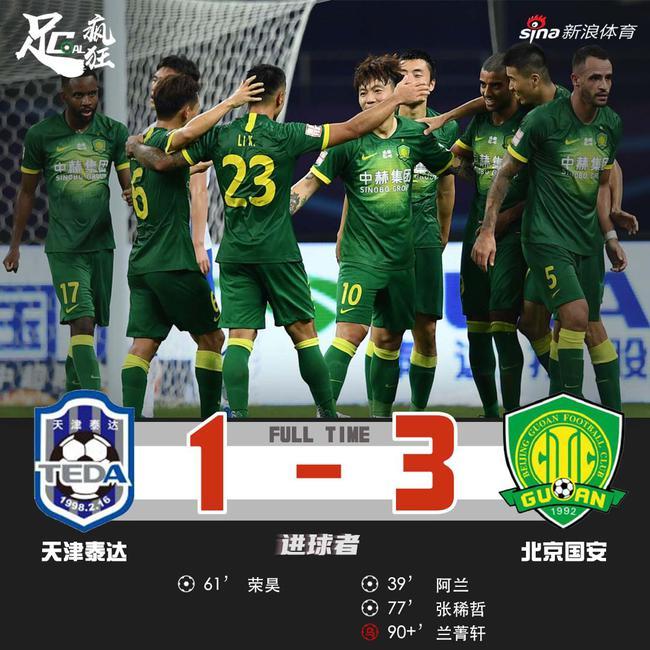 中超-阿兰处子球荣昊再轰世界波国安3-1泰达3连胜