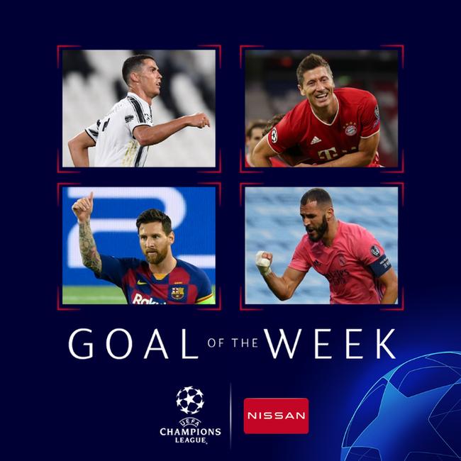 欧冠本周最佳阵:C罗搭档莱万 无梅西 拜仁5人