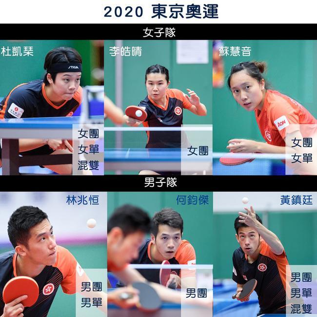 中国香港乒乓球队奥运名单 黄镇廷杜凯琹身兼三项