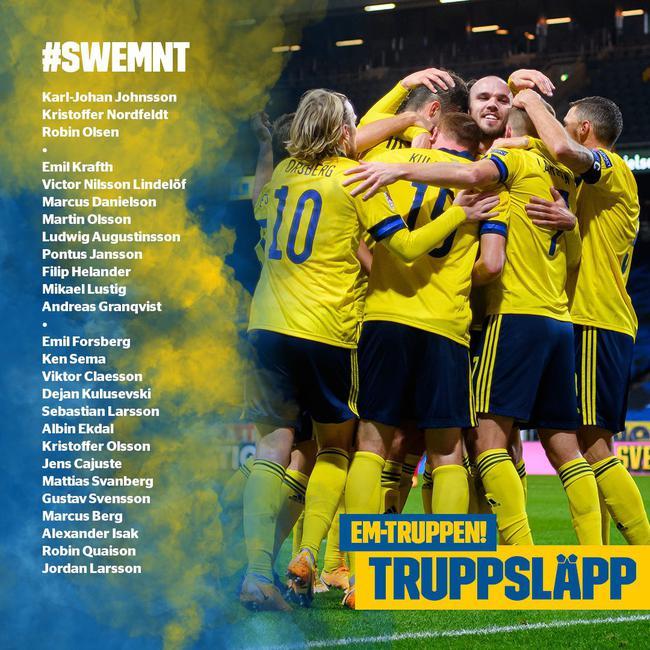 瑞典欧洲杯名单:林德洛夫领衔 中超两将 伊布伤缺