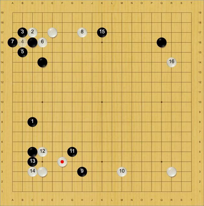 黑9时星阵推C8,之后的进程如上图(黑盘面4目)