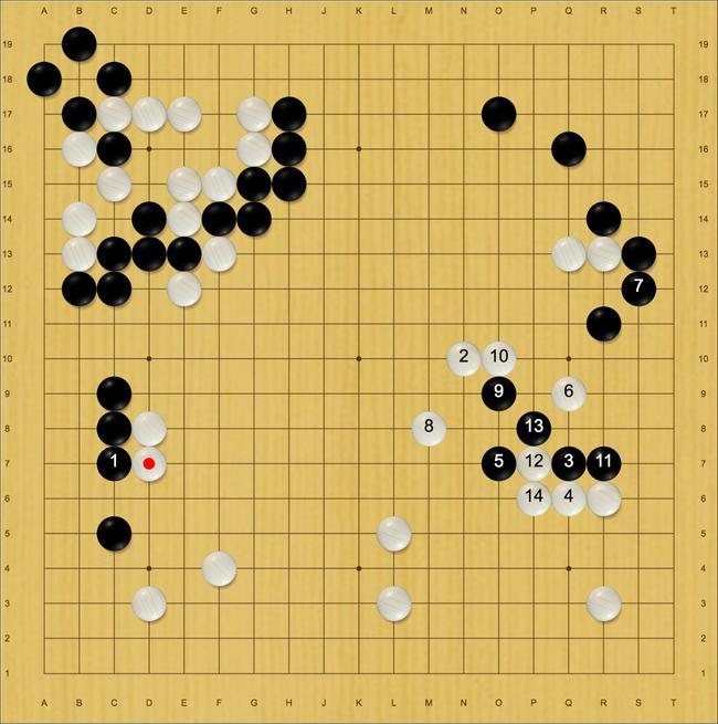 黑51时星阵推C7,之后的进程如上图(白盘面1.4目)