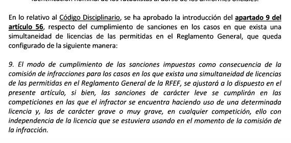 西班牙足协在纪律条目的第56条中插足了第9款