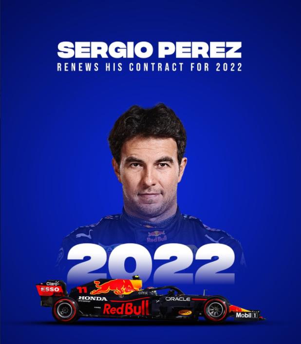 【博狗体育】红牛官宣与佩雷兹续约一年 2022继续搭档维斯塔潘