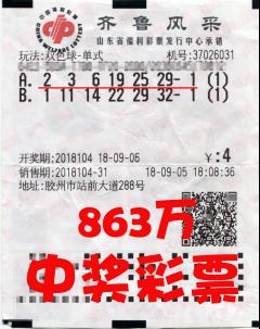 新手女彩民购彩半年收获大奖 自选擒双色球863万