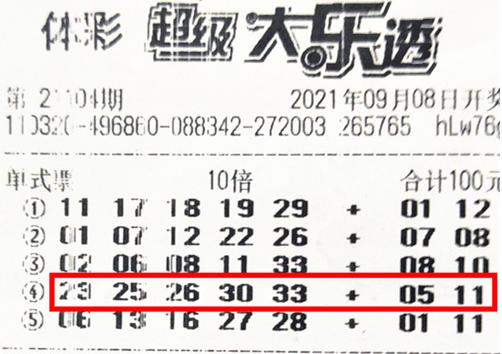 男子10倍投擒大乐透2等228万 一号之差错失数千万