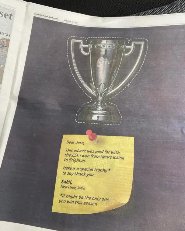 曼联球迷花钱登广告讽穆帅:谢谢你输球让我赢钱
