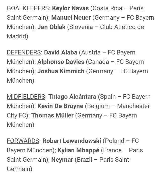 上赛季欧冠各位置最佳球员候选:无梅罗 拜仁7人