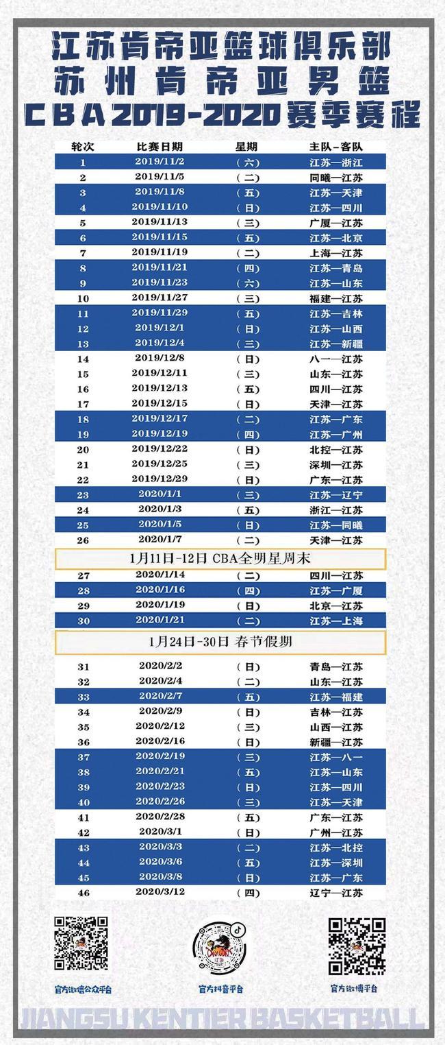 肯帝亚新季赛程:首战对阵浙江 次站江苏德比