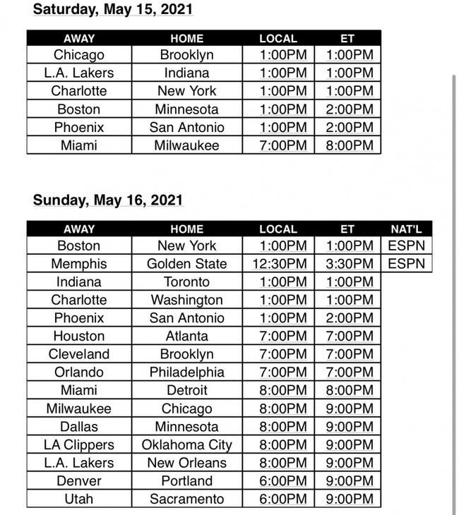 NBA公布常规赛最后两日赛程 收官日30队均出战