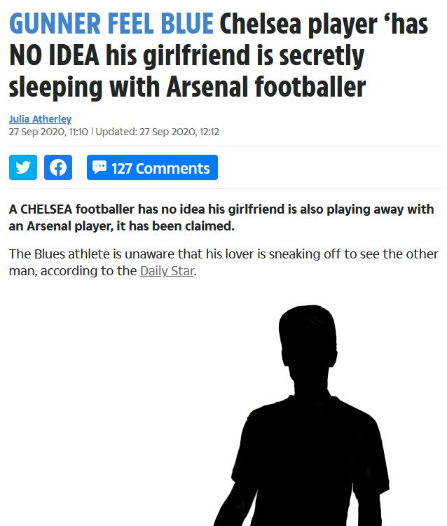 狗血!切尔西球员女友出轨 偷情对象是阿森纳球员