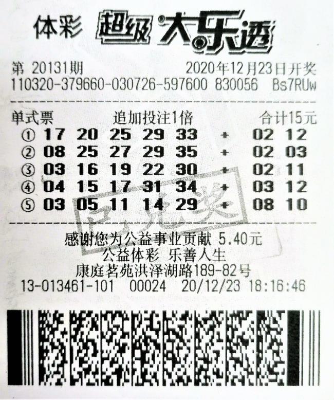 老彩民15元中大乐透1410万:追加奖金更划算-票