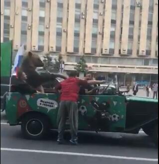 俄球迷有狗熊助阵坐车吹喇叭