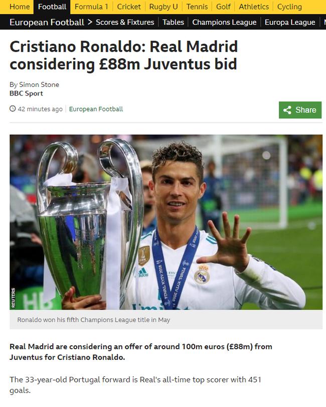 BBC体育也做出了相同报道