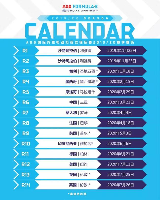 2019-20赛季FE赛历