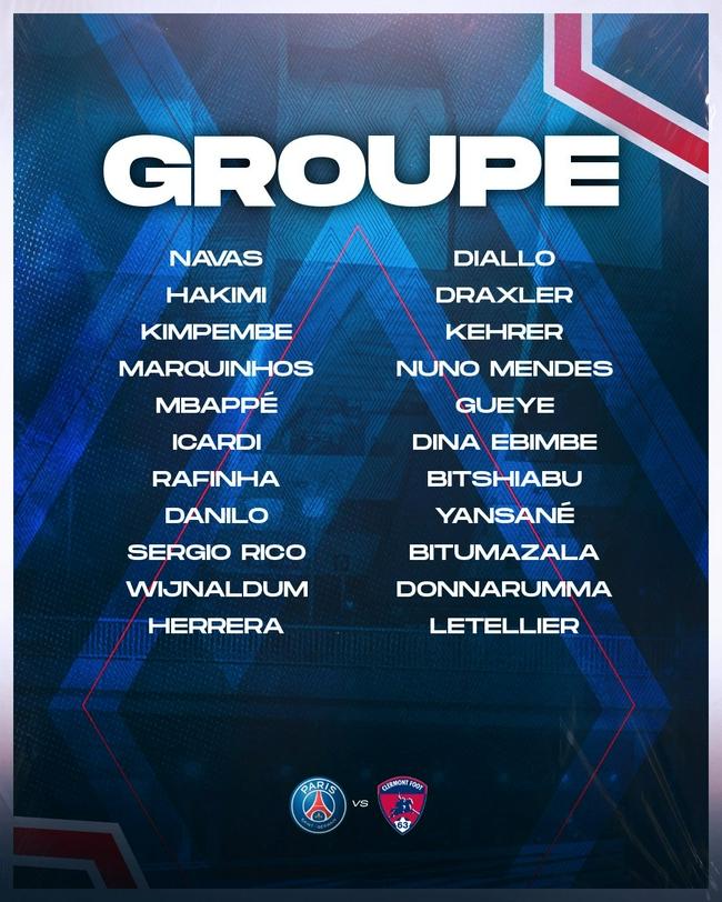巴黎公布聯賽名單;梅西內馬爾拉莫斯缺席比賽