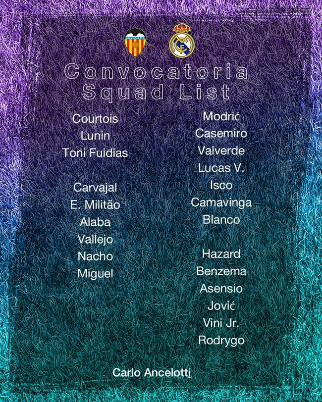 皇馬客場對瓦倫名單;六大球星缺陣 包括貝爾馬塞洛
