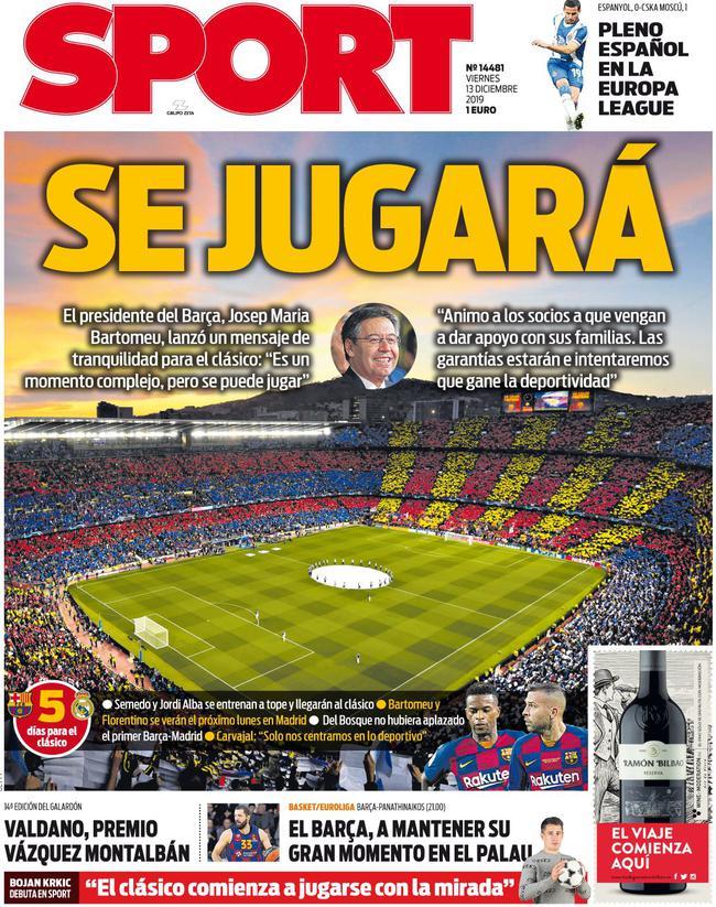 《每日体育报》封面:国家德比将会进行