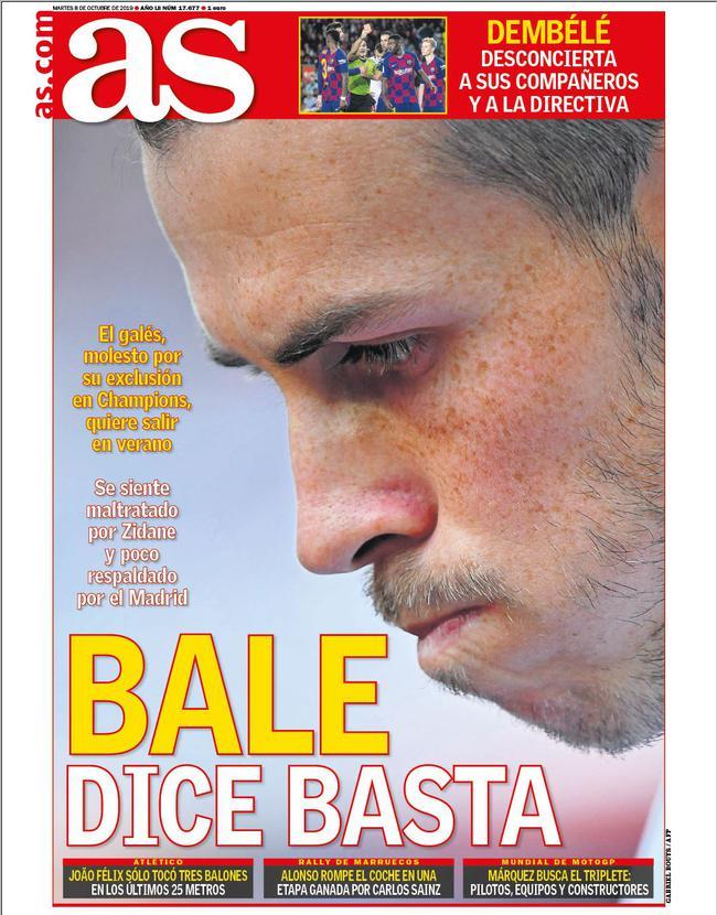 《阿斯报》封面:贝尔受够了