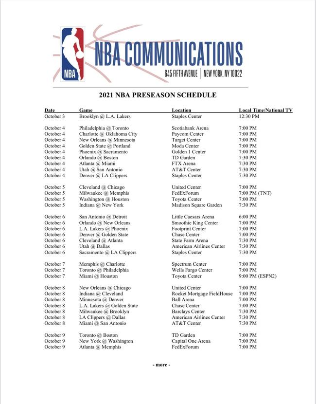 NBA新赛季季前赛完整赛程公布 首战篮网对湖人
