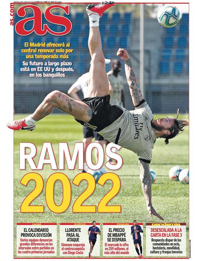 曝皇马向拉莫斯提供一年合约 新合同至2022年