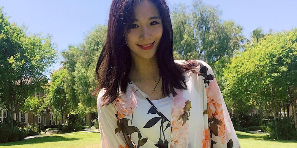 艺体女神鲍语晴分享生活照 碎花长裙气质迷人