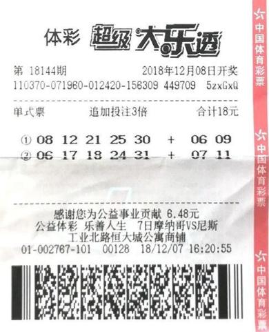 老彩民18元揽大乐透3357万 奖号是照打旧票-票