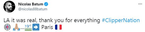 告别?巴图姆离开洛杉矶返回巴黎 还感谢快船
