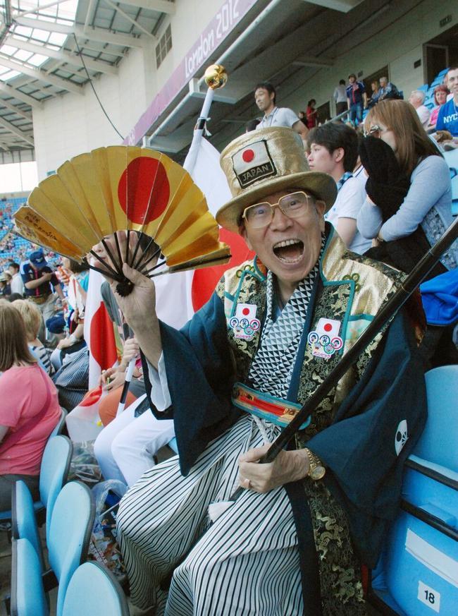 """""""奧運爺爺""""在2012年倫敦奧運會現場"""