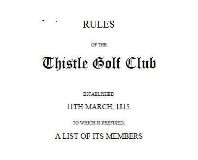 1824年《蓟花高尔夫俱乐部规则》封面