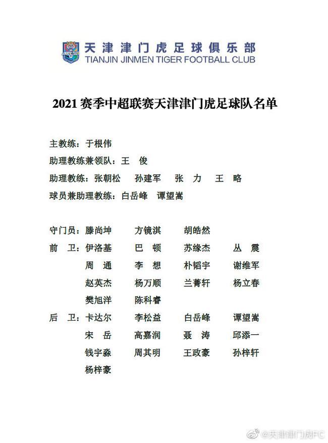 津门虎发布2021赛季中超名单:两外援 于根伟挂帅