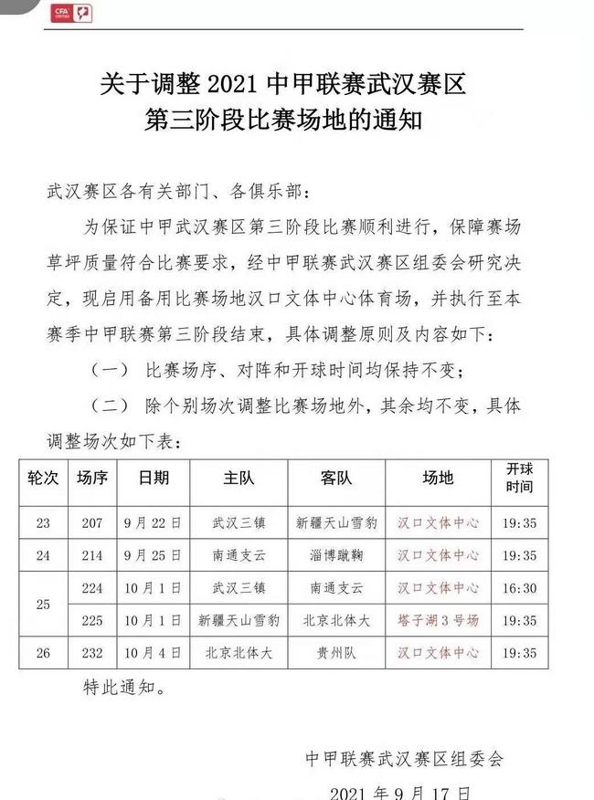 中甲武汉赛区场地调整 恢复启用汉口文体中心