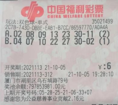 十余年老彩民购彩期期不落 单式票获双色球638万