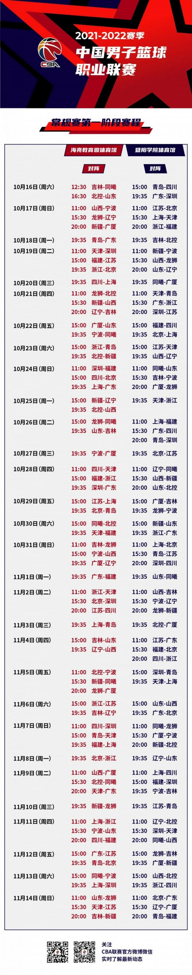 CBA公布常规赛第一阶段赛程 揭幕日广东出战
