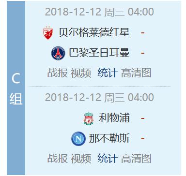 C组积分和最后一轮对阵
