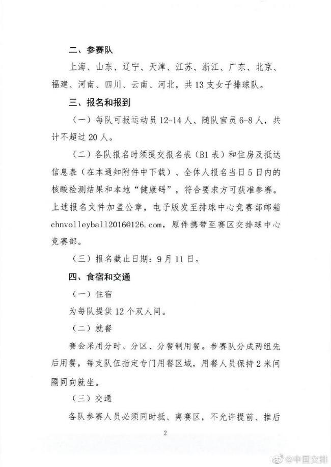 全国女排锦标赛将于9月17日至10月3日在江门举行