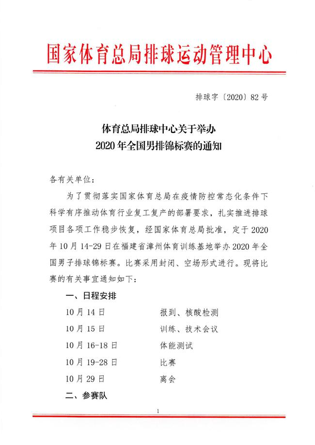 全国男排锦标赛10月14日开战 八一男排继续缺席