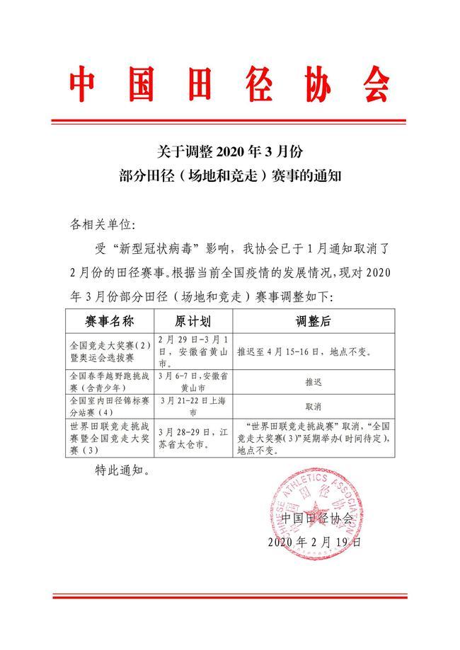 中国田径:奥运会竞走选拔赛推迟至4月15日举办