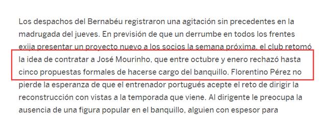 《国家报》截图:穆里尼奥曾5次拒绝皇马邀请