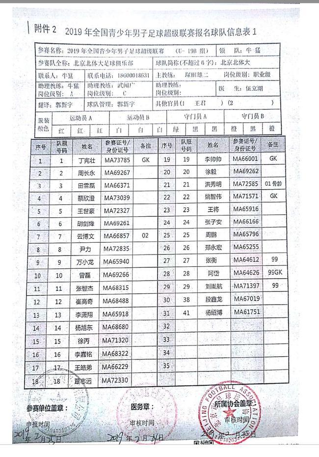 日本教练报名表