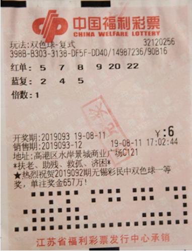 老彩民6元揽双色球559万 买彩随缘从不研究号码