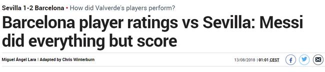《马卡报》:梅西做了一切,只差一粒进球