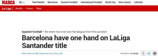 《马卡报》:巴萨一只手握着西甲奖杯了