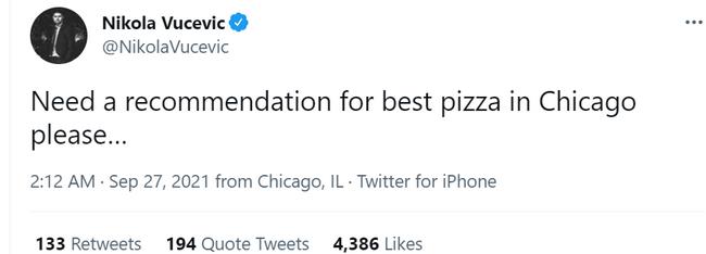 深夜饿了!武切维奇:求推荐芝加哥最好披萨店